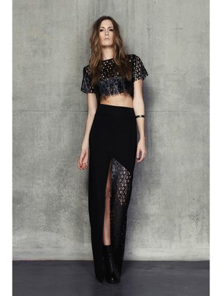 Cara Cheung Typo Leather Crop T