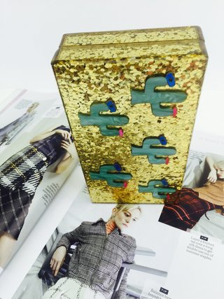 Milanblocks Gold Glitter Tropical Cactus Acrylic Box Clutch