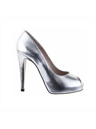 Kari C. Daisy Silver Peep-Toe Heels