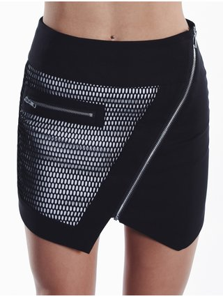 Cara Cheung Optic Mesh Moto Skirt Black & White