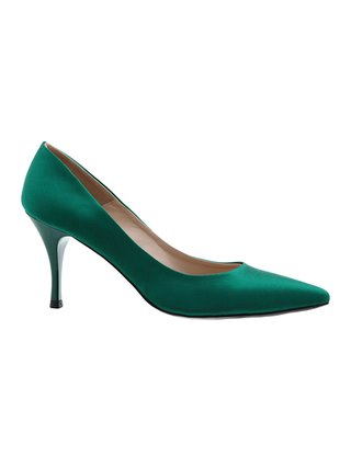 Kari C. Emma Emerald Silk Satin Pump
