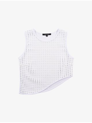 Cara Cheung Lattice Curve Hem Top - White