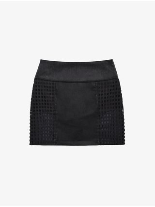 Cara Cheung Lattice Leather Skirt