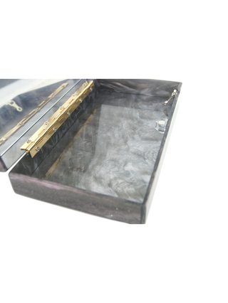 Milanblocks Deep Purple/Black Glitter Acrylic Box Clutch with Mirror