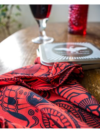 Furious Goose We're all Going to Die – Silk Pocket Square Red/Black