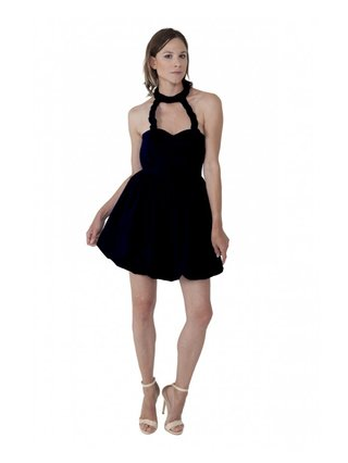 LIZA VETA COTTON BUBBLE DRESS BLACK