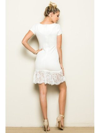 Arcade Attire Lace Ruffle Bottom Dress