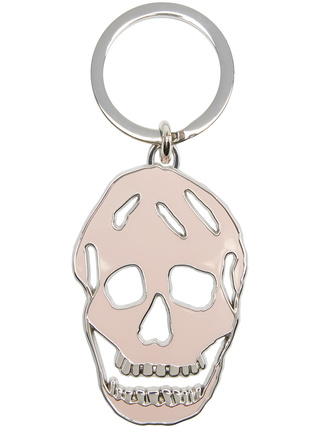 Pink & Silver Cut-Out Skull Keychain