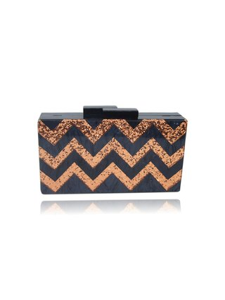 Milanblocks Rose Gold Glitter Black Chevron Acrylic Box Clutch