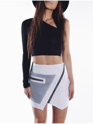 Optic Mesh Moto Skirt White