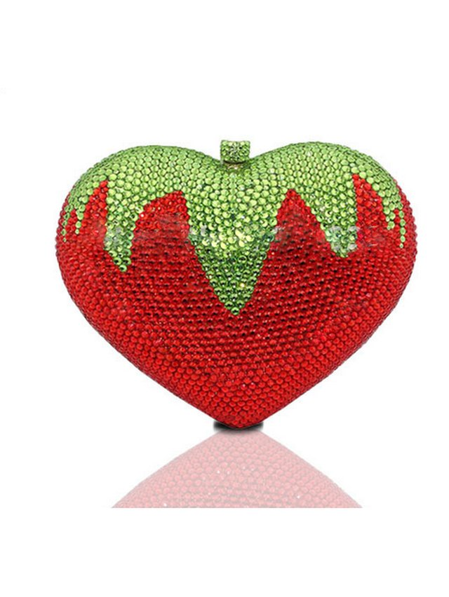 Milanblocks Strawberry Rhinestone Box Clutch