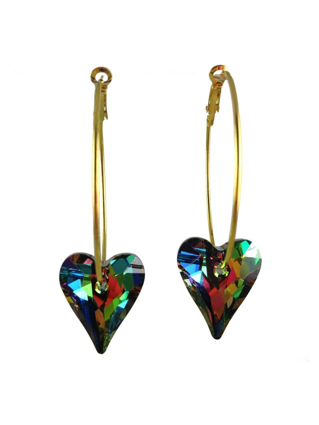 MizDragonfly Swarovski Crystal Heart Earrings Vitrail