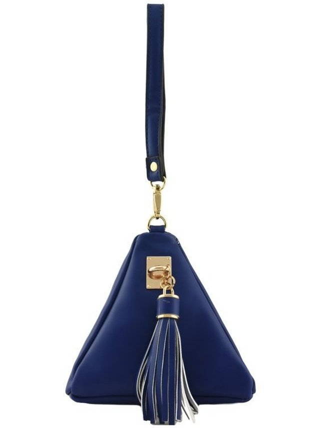 Arcade Attire Triangle Shape Tassel Clutch Bag - Blue