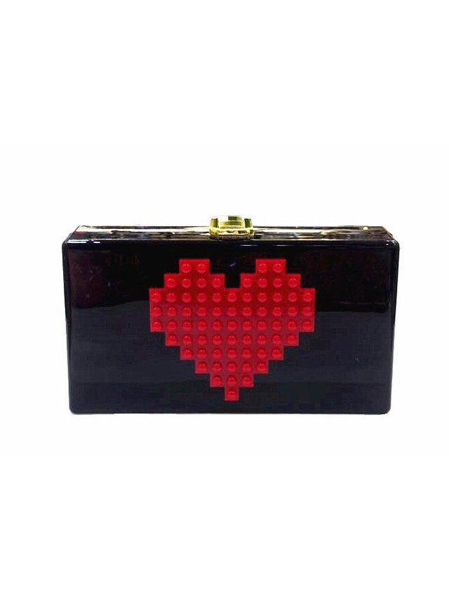 Milanblocks Heart Lego Acrylic Box Evening Clutch