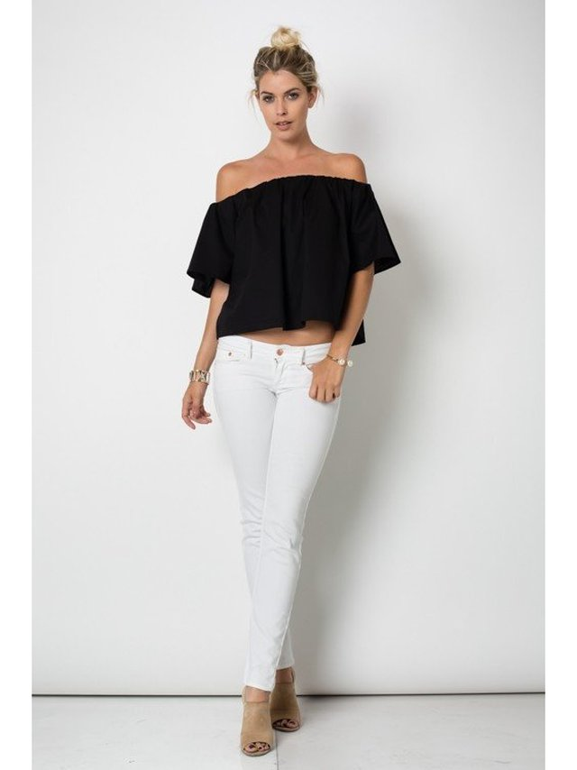 Arcade Attire Off The Shoulder Tunic Top - Black