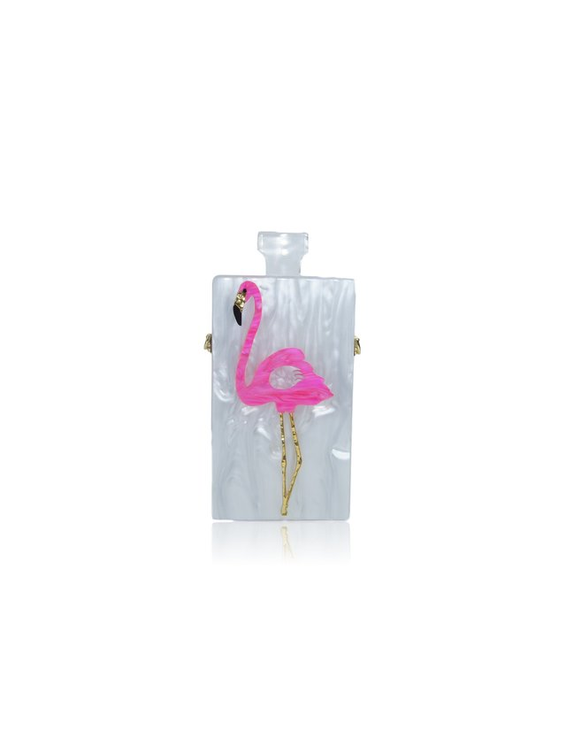 Milanblocks Flamingo Perfume Acrylic Box Clutch
