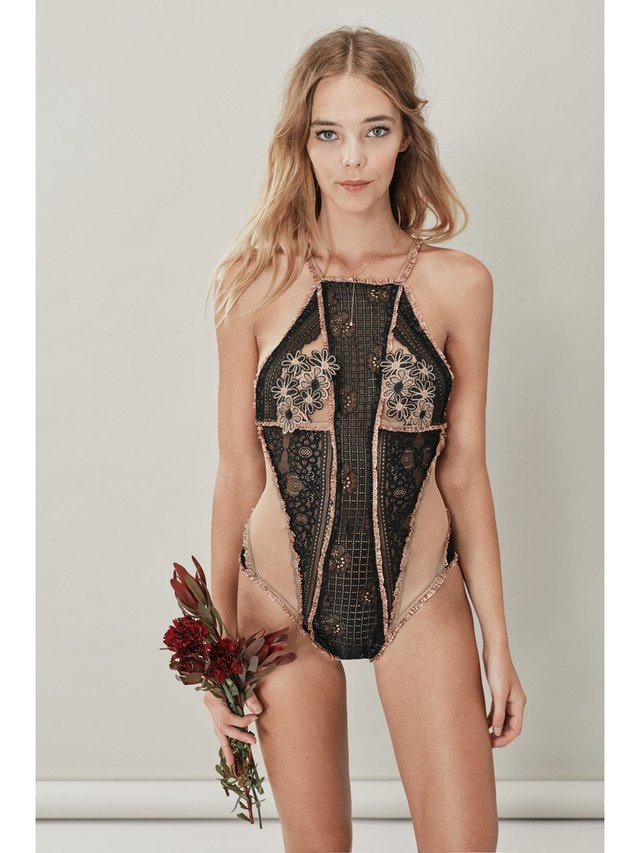 For Love & Lemons Heliotrope Applique Bodysuit