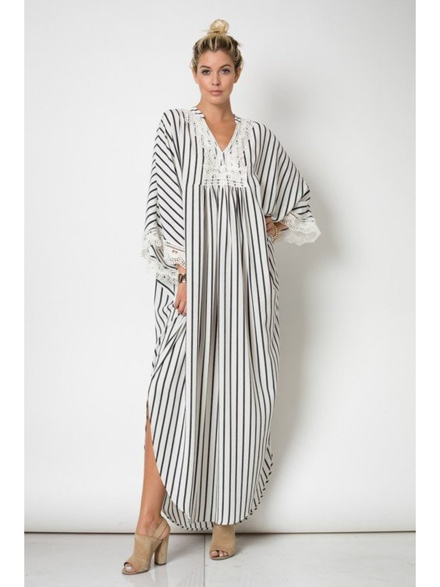 Arcade Attire Kimono Maxi Dress With Lace Trim - Off White/Black