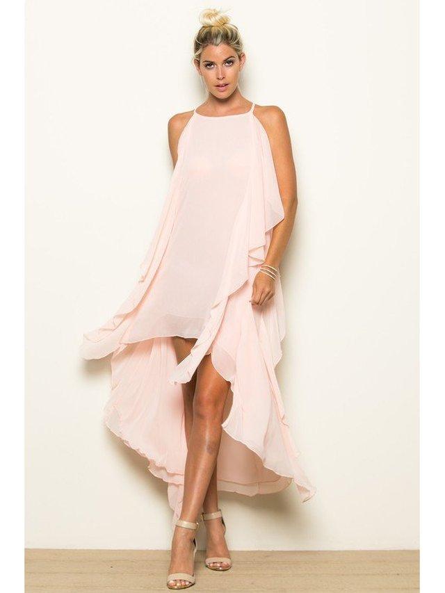 Arcade Attire High Low Big Side Ruffle Dress - Blush
