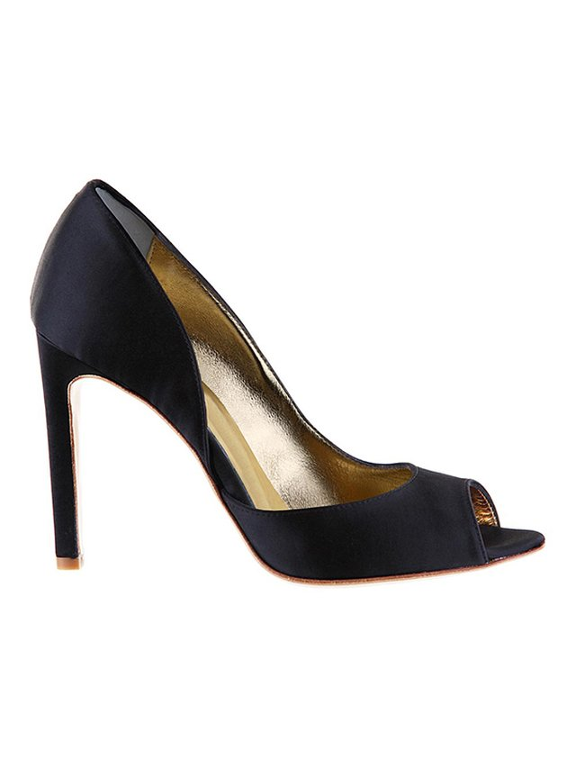 Kari C. Camilla Black Silk Satin Open-Toe d'Orsay Pump