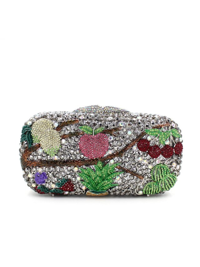 Milanblocks Fruit Rhinestone Minaudiere Box Clutch