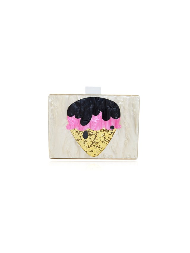 Milanblocks Ice Cream Champagne Pearl Lucite Clutch