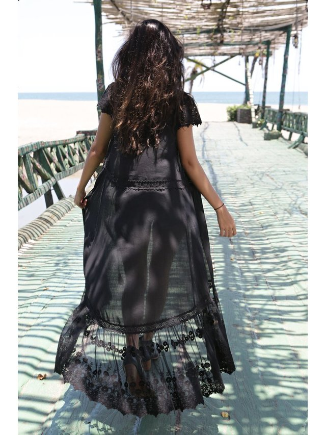 Tulle & Batiste Willow Coat - Moonless Black