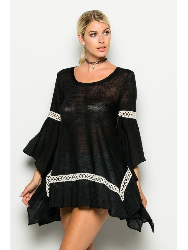 Arcade Attire Bell Sleeve Tunic Top