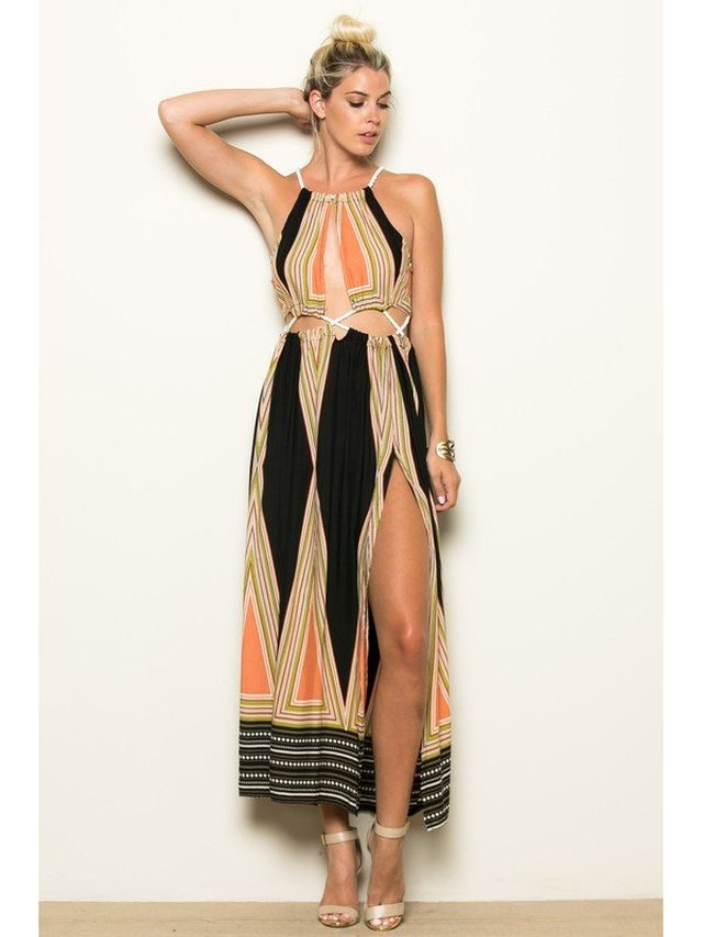 Arcade Attire Rope Connect Side Cut Maxi Dress - Black