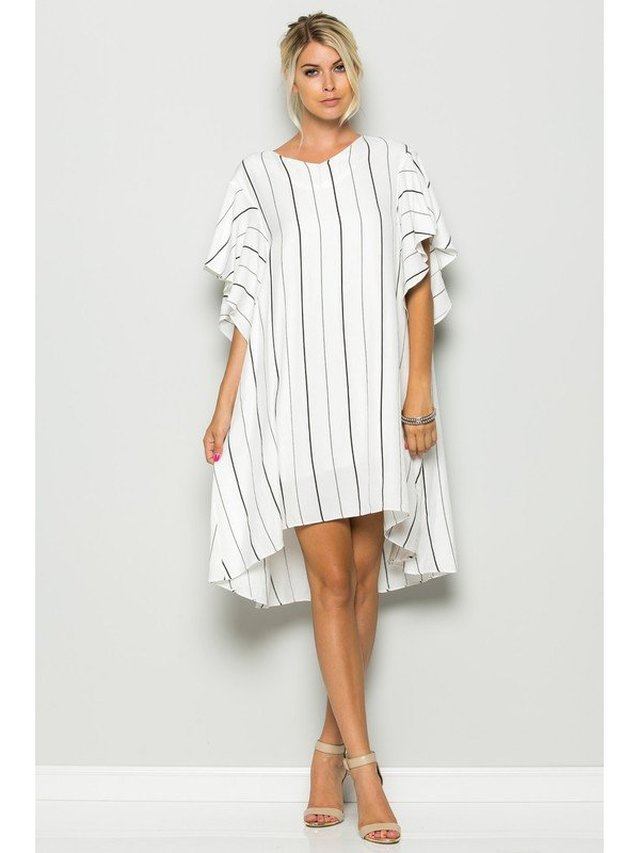 Arcade Attire Ruffled Sleeve Oversized Stripe Dress