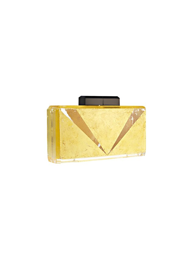 Stefanie Phan The Main Act V-Detail 24k Gold and Acrylic Clutch