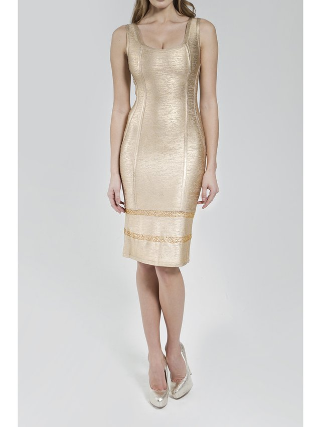 Narces Gold Metallic Stretch-Knit Dress