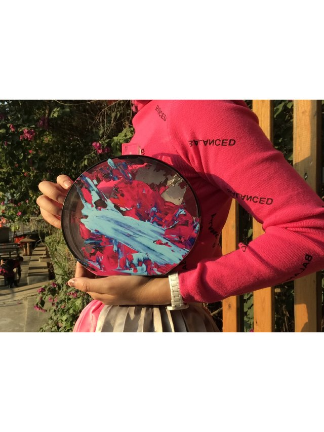 Milanblocks Abstract Acrylic Splatter Paint Round clutch