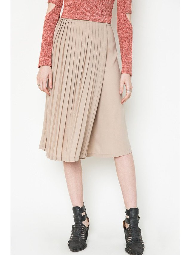 Arcade Attire Pleat Skirt - Almond