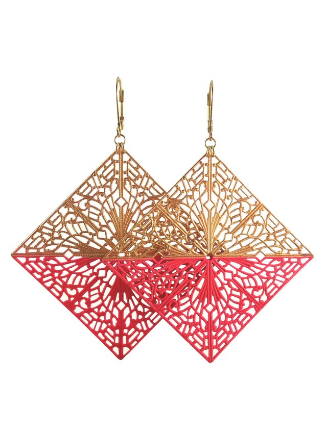 MizDragonfly Diamond Filigree Earrings Hot Pink