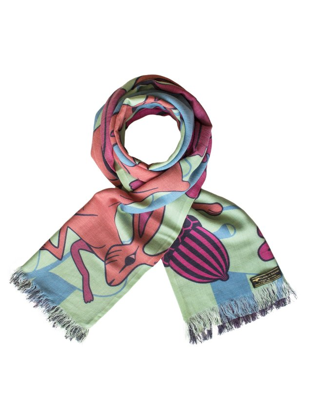 Furious Goose Hares – Spring, Reversible Long Scarf