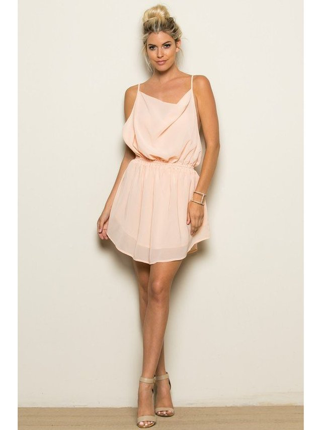 Arcade Attire Cross Back Dress - Blush