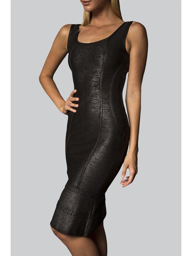 Narces Black Metallic Stretch-Knit Dress