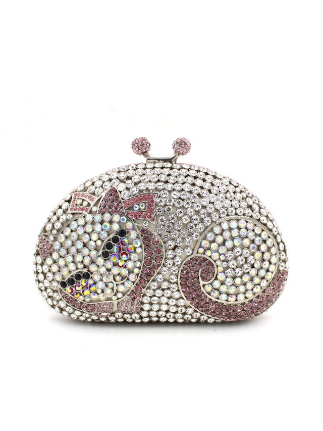 Milanblocks Cat Rhinestone Kisslock Clutch