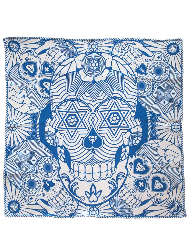 Furious Goose We're all Going to Die – Silk Pocket Square Blue