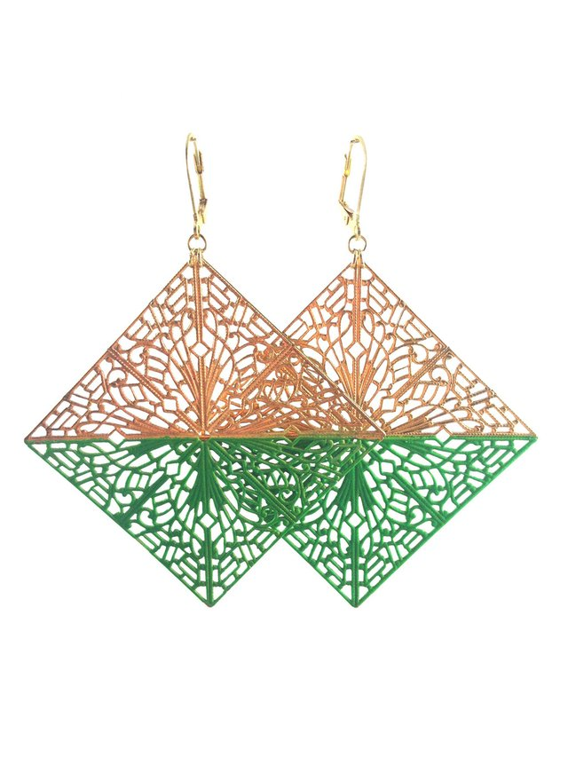 MizDragonfly Diamond Filigree Earrings Green