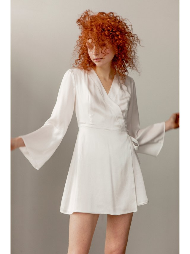 Hilary MacMillan White Silk Robe Dress