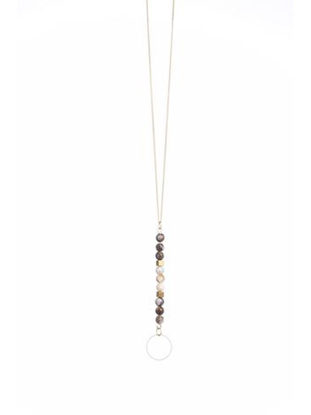 Monoxide Style Circle Bright Necklace - Brown Agate