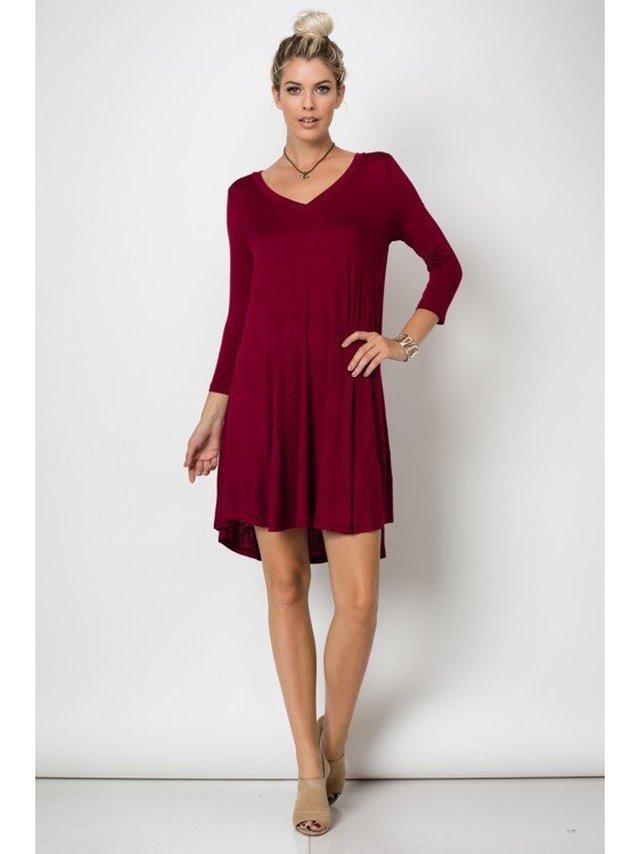 Arcade Attire Trapeze V Neck Mini Tunic Dress Top - Burgundy