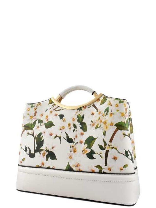 Arcade Attire Floral Print Top Handle Bag - White