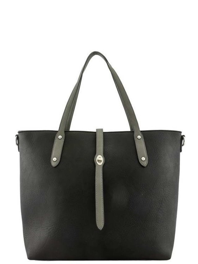Arcade Attire Leather Handle Tote Bag - Black