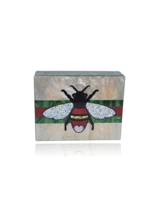 Milanblocks Queen Bee Champagne Acrylic Box Clutch Handbag
