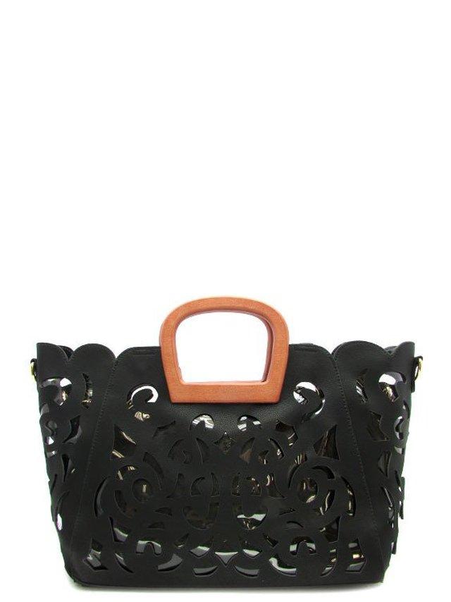 Arcade Attire Laser Cut Tote Bag 2 In 1 - Black