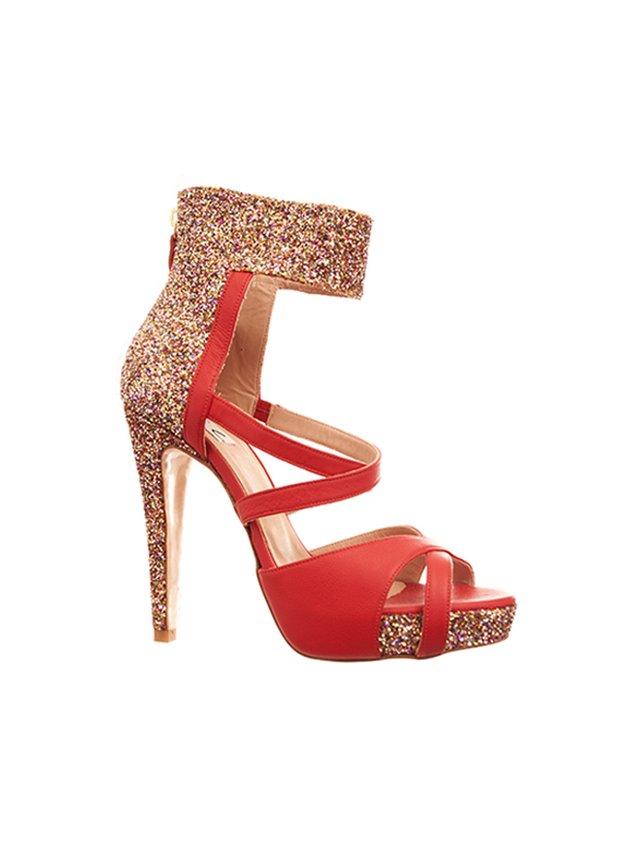 Kari C. Dahlia Red Open-Toe Glitter Heel Sandal