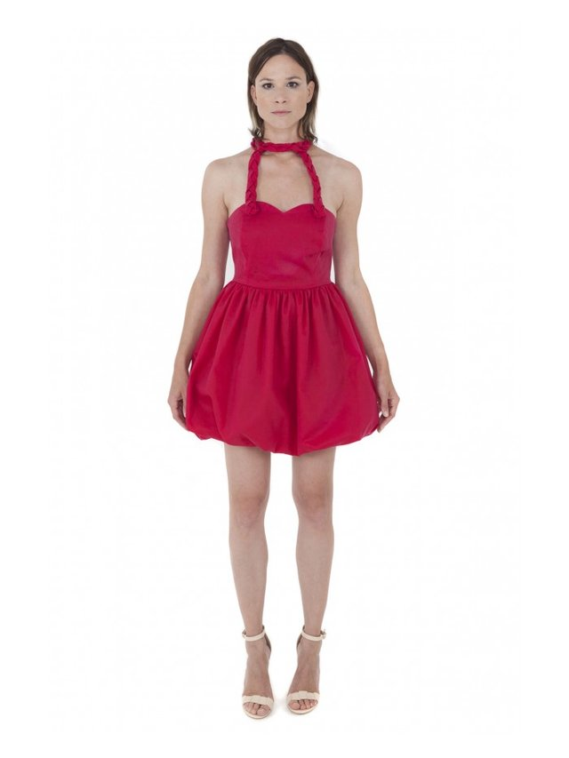 LIZA VETA COTTON BUBBLE DRESS RED
